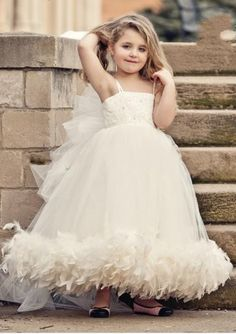 ==> [Free Shipping] Buy Best 2015 New Cheap Flower Girls Pageant Dresses A-Line Feathers Quinceanera Dresses Sequin Bouquet Flowers Girls Dresses S281 Online with LOWEST Price | 32277200777
