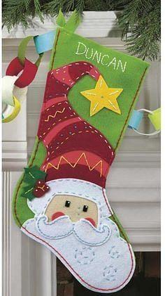 Dimensions Felt Applique Kit Santa Stocking, , hi-res Christmas Stocking Pattern, Felt Christmas Ornaments, Christmas Sewing, Christmas Time, Christmas Decorations, Santa Stocking, Santa Christmas, Felt Stocking, Stocking Ideas