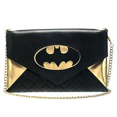 DC Comics Batman Quilted Black  Gold Envelope Wallet Purse with 48 Chain * You can get more details by clicking on the image.