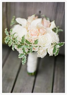 white calla lily, blush and cream roses bouquet
