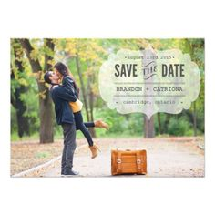 Typography Save the Date Wedding Invitation Vintage Typewritten Save the Date Announcement