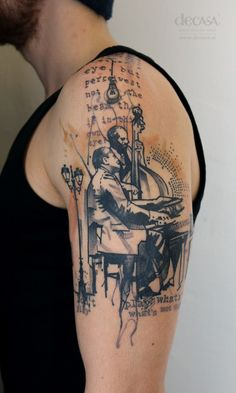 """artist: Carola Deutsch / Titel: """"jazz never die"""" / Körperstelle: Oberarm / Entstehungsjahr: 2015  / Material: Tattoofarbe unter Haut"""