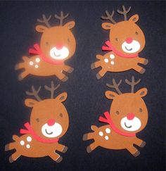 potential door decs  I MADE THESE!   skipped the spotting on the reindeer and put names instead :)