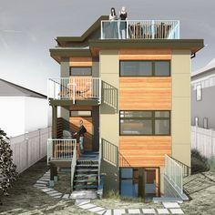 Narrow Passive House - Back Elevation contemporary