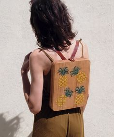Pineapple Stitched Oak Wood Backpack by Grav Grav - $695