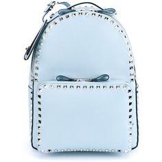 Valentino Garavani 'Rockstud' backpack ($2,725) ❤ liked on Polyvore featuring bags, backpacks, blue, top handle bag, blue bag, knapsack bags, blue backpack and rucksack bag