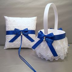 Royal Blue Wedding Bridal Flower Girl Basket and by evertonbridal, $50.00