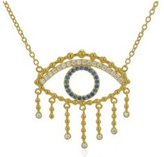 Eyelashes Evil Eye Choker Necklace with Clear Blue CZ Stones http://www.bettinascollection.com/products/eyelashes-evil-eye-choker-necklace-with-clear-blue-cz-stones