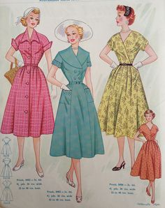 Australian Home Journal - 50's fashion know why this is cool BECAUSE there are any number of pattern on the market right now that will give you theses 3 dresses rember take it apart in your mined see it as sepret pieces and then look at mod patterns for the same pieces to combine into a whole