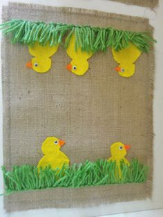 Ryijyhapsu ja keltaiset huopatiput Easter Arts And Crafts, Diy And Crafts, Crafts For Kids, Handicraft, Art For Kids, Needlework, Art Projects, Burlap, Preschool