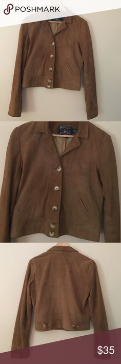 """American Living S suede lined jacket tan Trendy and fun American Living size small 100% genuine suede lined jacket in a tan camel color. Dimensions taken while garment is laying flat: 15"""" across shoulders, 36"""" bust, 34"""" waist, 34"""" hips, 24"""" sleeve length, and length from shoulder to bottom hem 20"""". American Living Jackets & Coats"""