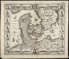 """""""Daniae Regni Typum Potentissimo Invictissimoque,"""" 1629. This map of Denmark, where Hamlet is set, depicts the country's different social groups through drawings of men and women in different dress."""