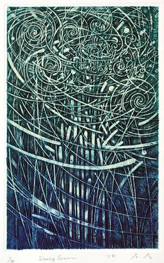 Weaving Green #214/ 19x12cm copperplate print with chine colle'(etching, engraving) HAYASHI Takahiko 林孝彦 2016