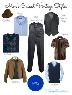 Team tailored pants with casual pullovers and shirts for a 1940s style.