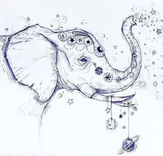 """Draw elephant similar to this in frame with caption """"wild and free"""" for ava for xmas Bild Tattoos, Body Art Tattoos, Tattoo Drawings, Tatoos, Crow Tattoos, Phoenix Tattoos, Ear Tattoos, Elephant Tattoo Design, Elephant Tattoos"""