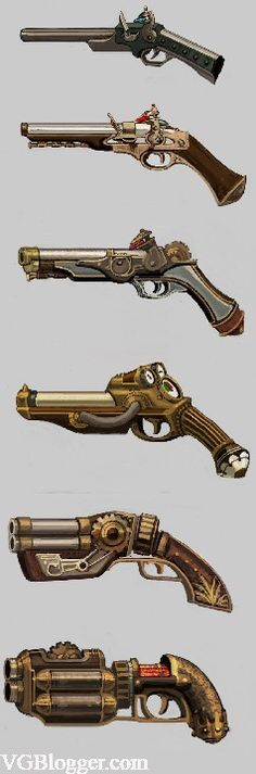 Steampunk firearms, the pistol variety Arma Steampunk, Pirate Steampunk, Steampunk Kunst, Steampunk Weapons, Sci Fi Weapons, Weapon Concept Art, Steampunk Design, Weapons Guns, Fantasy Weapons