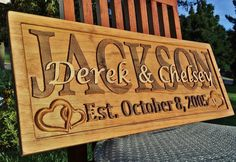 Personalized Family Last Name Sign Custom Carved Wood Plaque Couple Wedding Gift #Handmade #RusticPrimitive