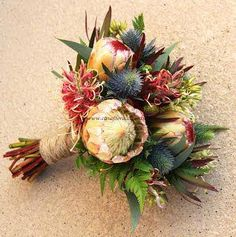 Inspiration and ideas for wedding and bridal flowers. Proteas are a great flower to include in your bridal bouquet and centerpieces. Protea Wedding, Bush Wedding, Flower Bouquet Wedding, Floral Wedding, Beach Wedding Reception, Wedding Reception Decorations, Ikebana, Wedding Flower Pictures, Jamaican Wedding