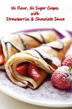 No Flour, No Sugar Crepes with Strawberries & Chocolate Sauce. Get the gluten free recipe at This Mama Cooks! On a Diet