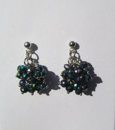 Black Rainbow Iridescent Beaded Earrings Cluster by Windychimes,