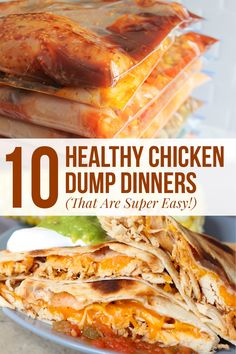 10 Healthy Chicken Dump Dinners (That Are Super Easy!) These chicken dump dinners are so amazing. I quickly prepped 10 meals for the freezer so I wouldn't have to worry about dinner on busy weeknights. Cheap Clean Eating, Clean Eating Snacks, Healthy Eating, Healthy Crockpot Recipes, Gourmet Recipes, Dinner Recipes, Dump Recipes, Cooking Recipes, Drink Recipes