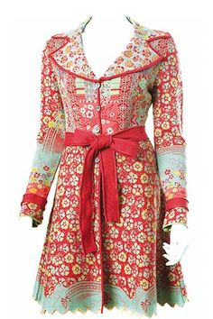 Red and turquoise and pattern, pattern, pattern!  Ivko jacket with belt.