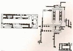 Planta templo elevado Innana, Uruk. Nivel IV. Periodo de Uruk, h.3500-3000 a.C. Templo de Caliza o del Cielo. Innana, diosa de la fecundidad. En Uruk los templos toman su forma definitiva: estructura organizada por una nave en forma de T terminada en una cabecera dividida en 3 capillas. 2 naves laterales más muy compartimentadas se abrían al espacio central. Sus muros presentan un contorno dentado, la particularidad en este templo es el uso de piedra caliza que muestra la importancia del…