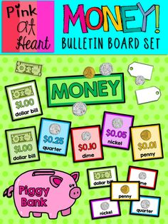 MONEY! Bulletin Board from kac2877 from kac2877 on TeachersNotebook.com (32 pages)  - PDF - many pieces to create a great reference bulletin board!