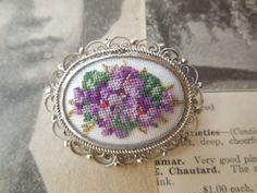 Vintage Petit Point handmade in Austria Brooch Pin Pansy Violets. via Etsy.