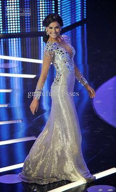 Wholesale Pageant Dresses - Buy - 2013 Bling Bling Diamond Beaded Long Sleeve Mermaid Shiny Pageant Dresses Evening Gowns, $171.59 | DHgate
