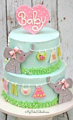 ELEPHANT CLOTHESLINE CAKE