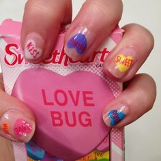 Valentine's Day inspired nail art - so cute!