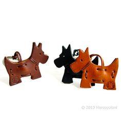 Scottish Terrier Italian Leather Key Chain