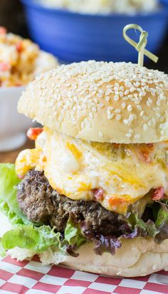 Southern Pimento Cheese Burger Recipe _ Topped with Southern favorite, Pimento Cheese. Flavor explosion! Insanely creamy & oozing with cheese so that the entire burger gets completely covered in a blanket of cheesy goodness! Burger Recipes, Spicy Recipes, Grilling Recipes, Beef Recipes, Cooking Recipes, Snacks Recipes, Burger And Fries, Beef Burgers, Good Burger