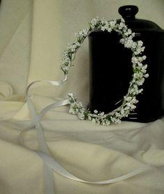 White Wedding Day hair accessories Flower Crown Babys Breath halo Bridal headpiece artificial hair wreath garland handmade