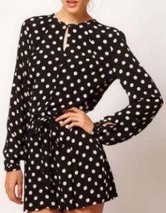 b8e6194100303 SheIn offers Black Long Sleeve Polka Dot Chiffon Romper   more to fit your  fashionable needs.