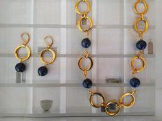Lapis Lazuli Gold Necklace.Gemstone Necklace Statement