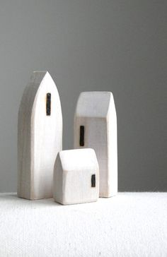 miniature wood houses...