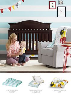 Set the stage for a fun, whimsical nursery with Room 365 Circus crib bedding.