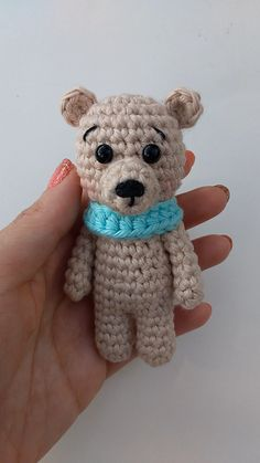 Crochet Tiny Bear – Free pattern This Free Amigurumi Bear crochet pattern is great to create the cutest tiny teddy bear. Its small size makes it perfect for little hands or to make a. The post Crochet Tiny Bear – Free pattern appeared first on Welcome! Crochet Bear Patterns, Crochet Motifs, Free Crochet, Teddy Bear Patterns, Crochet Elephant Pattern Free, Giraffe Pattern, Quick Crochet, Amigurumi Patterns, Crochet Animals