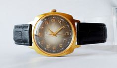 Men's Vintage Square Watch Gold plated 1970s by bestLuba on Etsy