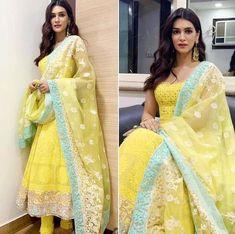 Indian Pakistani Designer Anarkali suit salwar suit kurta dupatta suit yellow suit On Sale Indian Attire, Indian Outfits, Indian Wear, Indian Salwar Kameez, Patiala, Indian Sarees, Kurtis Indian, Indian Gowns, Churidar