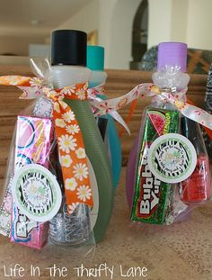 ThanksGreat gift idea for preteen/teen girls:  nail polish, polish remover, bubble gum, and a nail file.  Around $5 or less! awesome pin