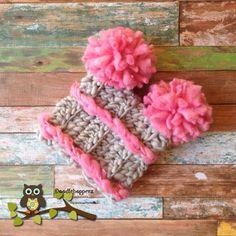 Baby Girl Pompom Hat  Pom poms Gray Pink Newborn by Doodlebopperz, $26.00