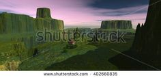 views of the countryside with two of the Congo. In the evening when the blue sky and pink clouds.  3D Illustration, 3D rendering - stock photo