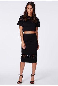 Mable Mesh Grid Panel Midi Skirt $17.08-like