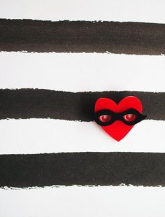 Mr Frenchy Heart MASKED Brooch by littlemiso on Etsy, $18.00