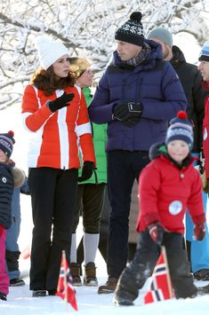 Catherine, Duchess of Cambridge and Prince William, Duke of Cambridge attend an event organised by the Norwegian Ski Federation, where they will see a group of local nursery children take part in afternoon ski sessions to keep them active and engaged throughtout the year at Holmenkollen ski jump on day 4 of their visit to Sweden and Norway on February 2, 2018 in Oslo, Norway. - 73 of 171