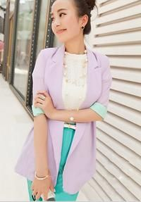 Purple Fresh Colours Rolled Up Sleevess Summer Collection Blazer