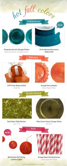 Fall 2013 Wedding Colors « The Daily Design Blog by Koyal Wholesale #weddings2014 #weddings2013 #diybride #diywedding #fallweddings